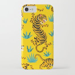 Yellow Tiger Tropical Pattern iPhone Case