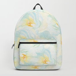 Watercolor hand painted pastel blue yellow floral pattern Backpack