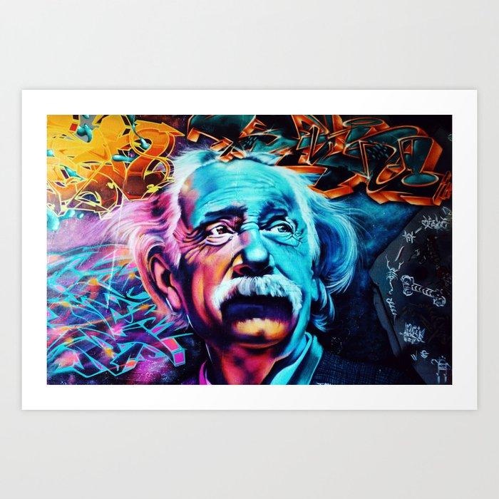 Urban Street Art: Albert Einstein Wall Mural Art Print by ...