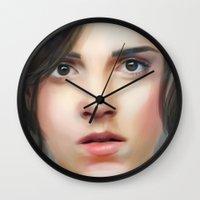 emma watson Wall Clocks featuring Emma Watson by taryndraws2