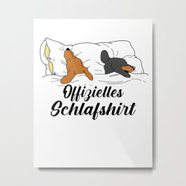 Dackel Dackelhund Offizielles Schlafshirt Retro Geschenk T-Shirt Metal Print