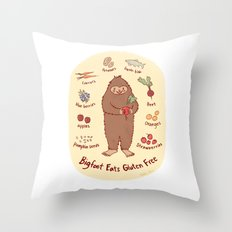 Bigfoot Eats Gluten Free Throw Pillow