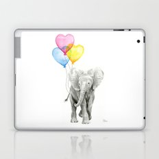 Elephant Watercolor with Balloons Rainbow Hearts Baby Whimsical Animal Nursery Prints Laptop & iPad Skin