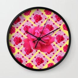 FUCHSIA PINK ROSE PATTERNS & YELLOW GARDEN ART Wall Clock