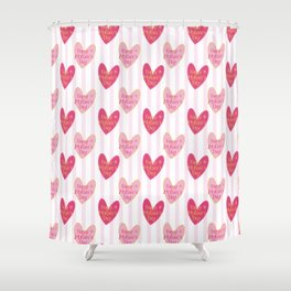 Blush pink white stripes heart mother's day typography Shower Curtain
