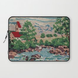 Cross stitch Red RoofTops Laptop Sleeve