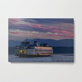 Sunset Ferry Metal Print