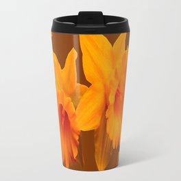 YELLOW SPRING DAFFODILS & COFFEE BROWN COLOR ART Travel Mug