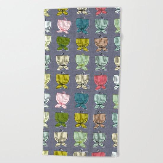 flower cups amethyst art Beach Towel