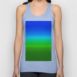 Blue Sky Green Grass Deconstructed (blue to green ombre gradient) Unisex Tank Top