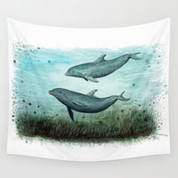 dolphins Wall Tapestries featuring Two Inshore Dolphins ~ Watercolor by Amber Marine
