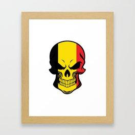 Belgian Flag Skull Framed Art Print