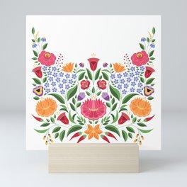 Hungarian folk pattern – Kalocsa embroidery flowers Mini Art Print