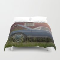 mercedes Duvet Covers featuring Old blue Mercedes by Katie Jean Images
