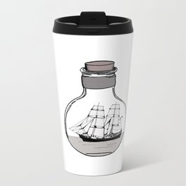The ship in the glass bulb . Art . Metal Travel Mug