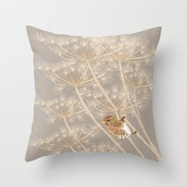 Redpoll on Hogweed Throw Pillow