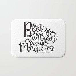 Books are a Uniquely Portable Magic BW Bath Mat