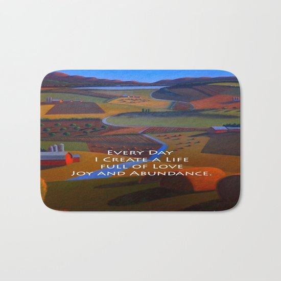 Love, Joy and Abundance Mantra - Cynthia Price Painting Bath Mat