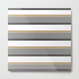 Grey And Gold Stripes with White Metal Print