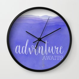 Adventure Awaits quote purple mountains landscape Wall Clock