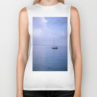 sailboat Biker Tanks featuring Sailboat by lennyfdzz