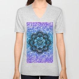 Colorful glitter & black mandala Unisex V-Neck
