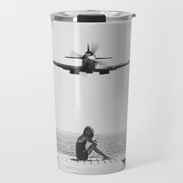 Steady As She Goes; aircraft coming in for an island landing black and white photography- photographs Travel Mug