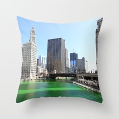 Chicago River Green for St. Patrick's Day Throw Pillow