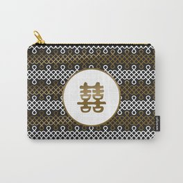 Double Happiness Symbol on Endless Knot pattern Carry-All Pouch
