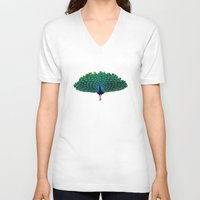 peacock V-neck T-shirts featuring Peacock by Whimsy Notions Designs