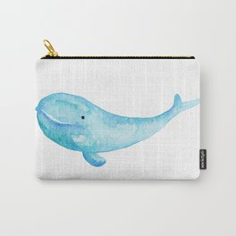Cute Whale Watercolor Painting Ocean Life Saltwater Blue Whale Carry-All Pouch