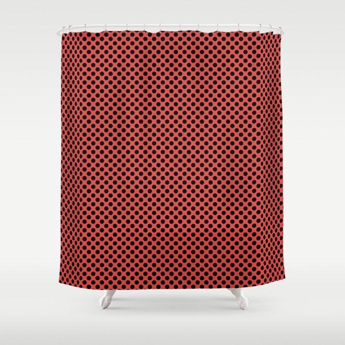 Grenadine and Black Polka Dots Shower Curtain