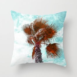 Orange marbled Palm Tree Throw Pillow