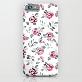Gray pink watercolor modern leaves floral iPhone Case