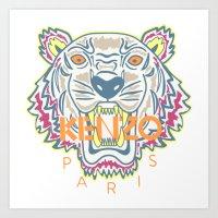 kenzo Art Prints featuring KENZO Tiger by cvrcak