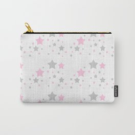 Pink Grey Gray Stars Carry-All Pouch