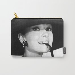 Audrey Hepburn Portrait, Black and White Vintage  Carry-All Pouch