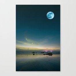 Blue moon and ocean 2 Canvas Print