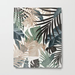 Tropical Jungle Leaves Pattern #13 (Fall Colors) #tropical #decor #art #society6 Metal Print