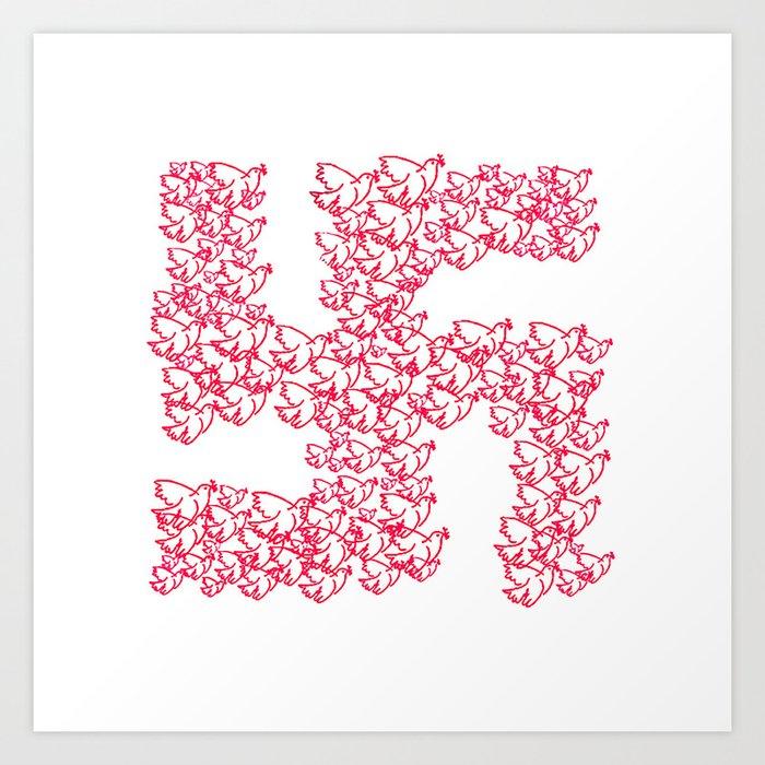 Swastika With Birds Of Peace Symbol Art Print By Danflcreativo