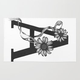 A for Aster flower Rug
