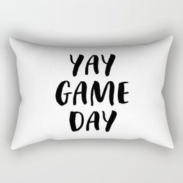Yay Game Day Football Sports Black Text Rectangular Pillow