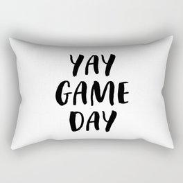 Yay Game Day Football Sports Black Rectangular Pillow