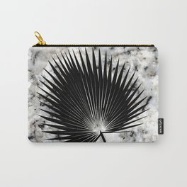 Tropical Leaves on Marble - Fan Palm Carry-All Pouch