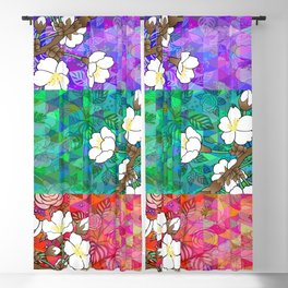 Floral branches and triangle background Blackout Curtain