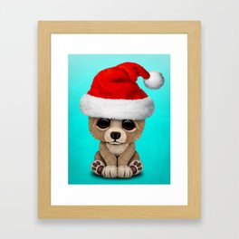 Christmas Bear Wearing a Santa Hat Framed Art Print