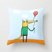 baloon Throw Pillows featuring Fox & Baloon by Pedro Vilas Boas