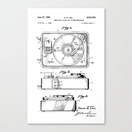 Turntable Patent Canvas Print