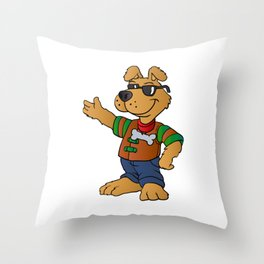 cartoon dog repair man Throw Pillow