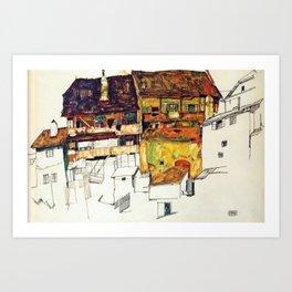 Egon Schiele - Old houses in Krumau 1914 Art Print